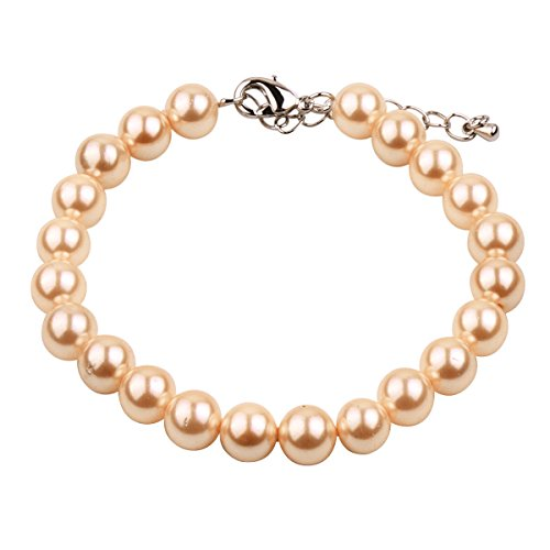 RUNXINTD Pearl Bracelet 8mm-9mm Round Pink White Pearl Bracelet in 3 Colors Wedding Jewelry (Yellow Pearl Bracelet) - Mother Of Pearl Yellow Bracelet