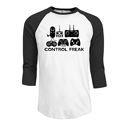 Price comparison product image Men's Control Freak Video Gamer Funny 3 / 4 Sleeve Black X-Large