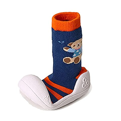 BW Rubber Sole Slipper Socks Non Slip Prewalkers For Infant Toddler Boy 12-18 months Navy On Sale