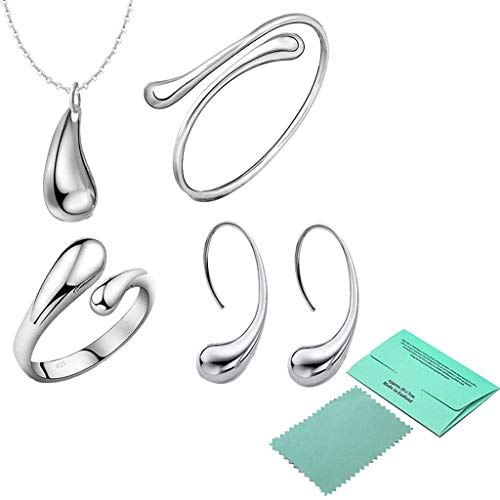 MEANIT 5 in 1 Water Drop Jewelry Set Women Ear Hook Necklace Bracelet Ring Gift for Birthday, Mothers' Day, Valentine's Day from MEANIT