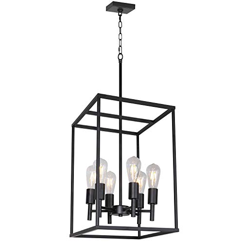 (VINLUZ Classic Foyer Pendant Lighting 6 Light Black Farmhouse Chandelier Finish with Square Cage Shades Fixtures for Kitchen Dining Room Entryway)