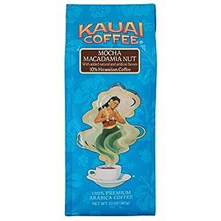 Kauai Hawaiian Ground Coffee, Mocha Macadamia Nut Flavor (10 oz Bag) - 100% Premium Gourmet Arabica Coffee from Hawaii's Largest Coffee Grower - Bold, Rich Blend