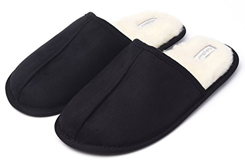 KushyShoo Mens Slippers, Scuff Fluff House Shoes, Slip-On Indoor Outdoor Slipper Black