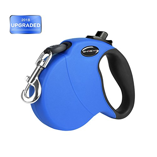 SHINE HAI Upgraded Heavy Duty Dog Leash Retractable, Reflective Ribbon Cord, 16ft Dog Walking Leash Perfect for Large Medium Small Dog Up to 110lbs, Break & Lock System, Blue by SHINE HAI
