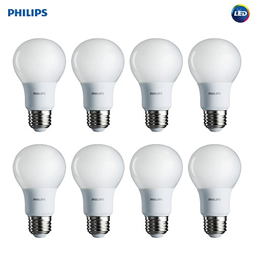 Philips LED Non-Dimmable A19 Frosted Light Bulb: 450-Lumen, 5000-Kelvin, 5-Watt (40-Watt Equivalent), E26 Base, Daylight, 8-Pack