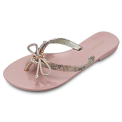 KCatsy Flip-Flops Female Bow Plating Casual Beach Shoes Non-Slip Women Sandals Pink (Bongo Sandals Womens)