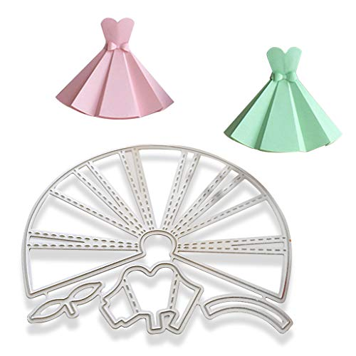 Hukai Carbon Steel Cute Skirt Dress Cutting Dies Embossing Stencil Templates Mold DIY Paper Art Craft Scrapbook Bookmark Card Decor,Good Gift for Your Kids to Cultivate Their Hands-on Ability ()