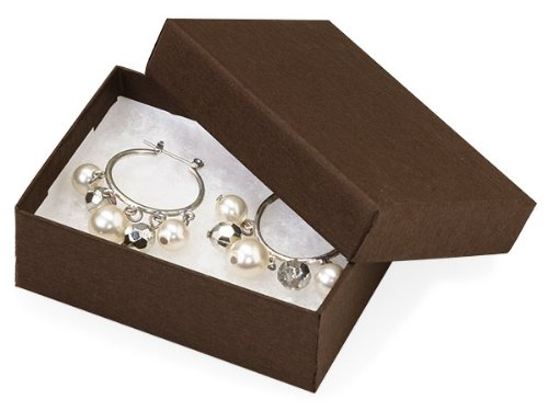 Onyx Ear Pin - Pack Of 100, Chocolate Jewelry Boxes Matte Kraft W/Non-Tarnishing Cotto 3 X 2.25 X 1