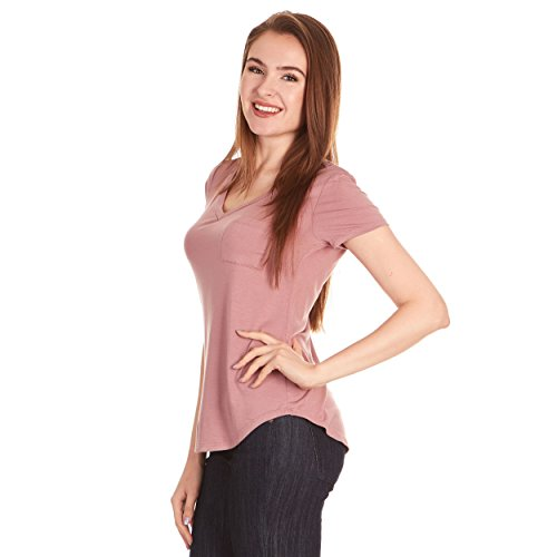 X America V Neck Short Sleeve Junior and Plus Size T Shirts for Women w/Pocket, Made in USA Mauve