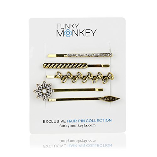 Funky Monkey Fashion Gold Bobby Girl and Woman Hair Pin Set | Brielle Collection - Pack of 5 (Brielle Collection)