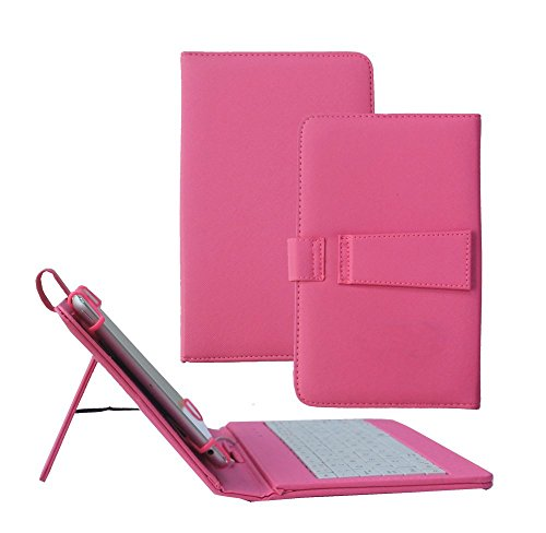Galaxy Tab 4 8.0 Case with Keyboard - Tsmine Universal Micro USB Keyboard W/ Premium PU Leather Case Stand Cover for Samsung Galaxy Tab 4 8.0 SM-T330 T331 T335 T337 T337A Tablet, Hot Pink
