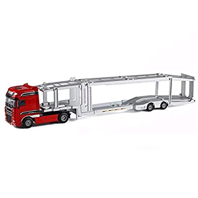 Xolye 1:50 Double-Decker Car Transporter Boxed Children's Toy Car Gift Pull Back Sliding Boy Toy Car Simulation Alloy Engineering Car Metal Anti-Fall Toy Car: Home & Kitchen