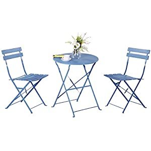 Grand patio Premium Steel Patio Bistro Set, Folding Outdoor Patio Furniture Sets, 3 Piece Patio Set of Foldable Patio Table and Chairs, Blue