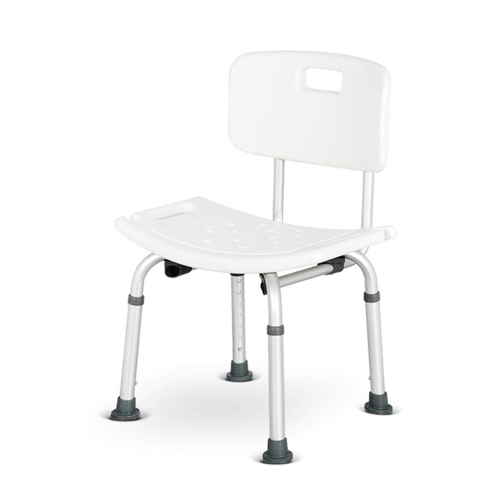 Adjustable 7 Height Shower Stool Bathroom Seat,Bathing Aid for Elderly/Disabled Bath Seat Bench, Detachable Backrest Chair