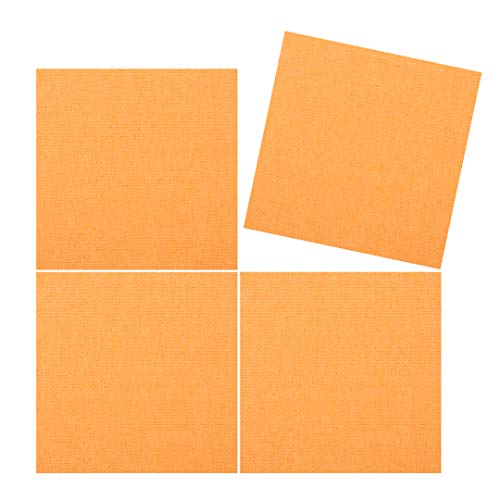 TRILUC, 12 x 12 Place and Stick Carpet Tile Squares. Non Slip Backing & Washable Floor Tile - 4 Pc Set - Orange ()