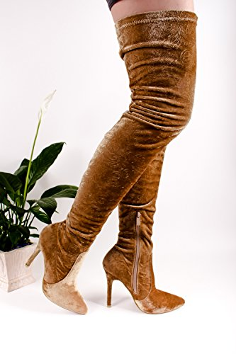 Young Aloud FLORAL LACE DESIGN BACK ZIPPER PEEP TOE FRONT LACE OVER THE KNEE PLATFORM HIGH HEEL BOOTS Mocha-m33-5 yahtC