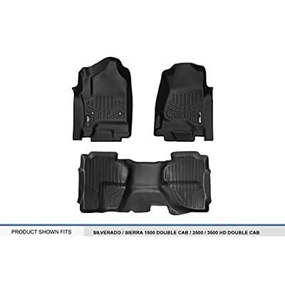MAXLINER Floor Mats 2 Row Liner Set Black for Double Cab 2014-2020 Silverado/Sierra 1500 - 2015-2020 2500/3500 HD: Automotive
