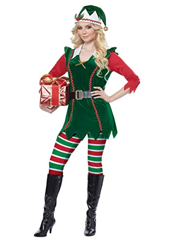 California Costumes Women's Festive Elf-Adult Costume, Green/Red