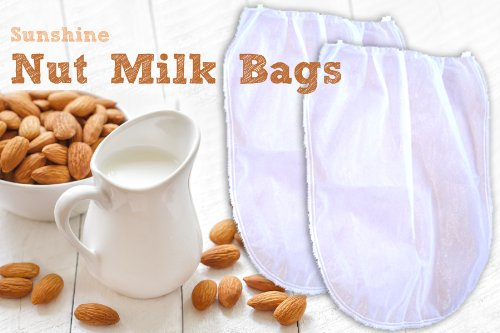 """2 Fine Mesh Nut Milk Jelly Strainer Bags (1 gal) XL Extra Large + Juicing and Sprouting eBook """"Juicing Start Up Guide"""""""