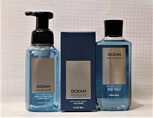 Bath & Body works – Ocean - Just for Him 3 pc gift set - Gentle Foaming Hand Soap, Cologne & 2-in-1 Hair + Body (Cologne Soap)