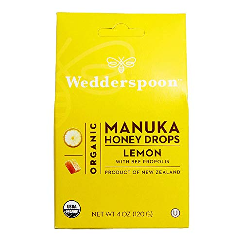 Wedderspoon Organic Manuka Honey Drops, Lemon + Bee Propolis, 4.0 Oz, Unpasteurized, Genuine New Zealand Honey, Perfect Remedy For Dry Throats