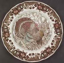 Dinner Plates, Set of 4 Johnson Brothers His Majesty Thanksgiving Turkey Bros