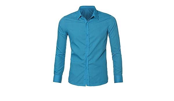 Hombre Camisa de Algodon Negocios Color sólido Camisa Manga Larga Slim Fit  Camisa Manga Larga para Hombre Camisa Formal Casual de Primavera de los  Hombres ... 6e45805b062