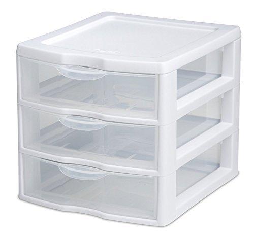 Sterilite 3 Drawer Mini Desktop Unit, Clear w/White Frame