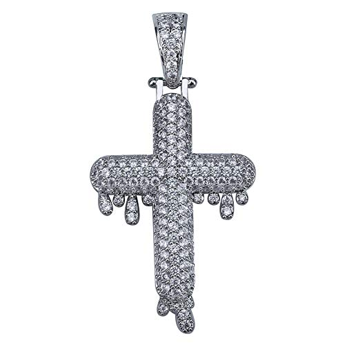 TOPGRILLZ 14K Gold&Silver Plated Iced Out CZ Lab Cubic Zirconia Lion Cross Pendant Neckace Mens Stainless Steel (Silver Drop Cross)