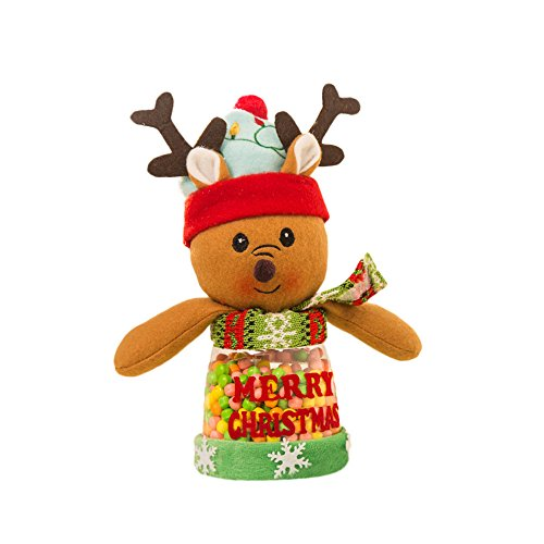 Willsa Cute Exquisite Christmas Candy Decoration Santa Claus Tree Storage Bin Can Bottle Tank ()