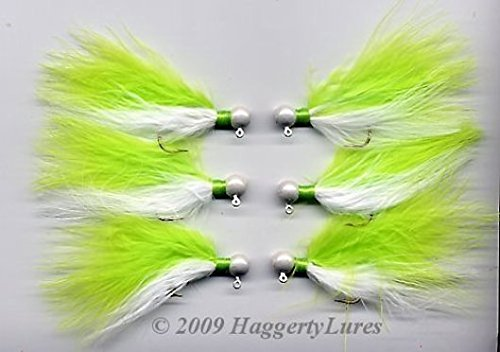 Marabou Jigs - Set of 6 - Chartreuse (Chartreuse / White, 1/4 oz)
