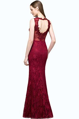 Weinrot Ballkleid Blumenstickerei Abendkleider Hochzeit Brautjungfernkleid Für Elegant Spitze Damen Tüll Lang qwfxFF