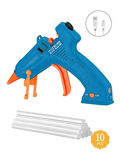 TOPELEK Cordless and USB Chargeable Melt Glue Gun (Blue)
