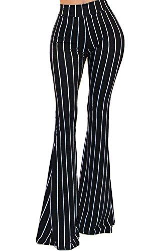 Vivicastle Women's Boho Solid Hippie Wide Leg Flared Bell Bottom Pants (C26, blk/Ivy, Medium)