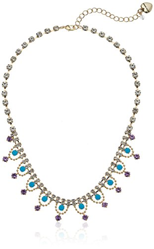 Betsey Johnson Womens Granny Chic Gold and Turquoise Frontal Necklace, Crystal, One ()