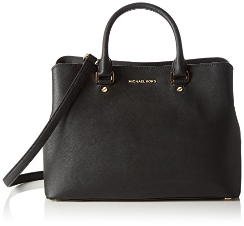 MICHAEL Michael Kors Women's Large Savannah Satchel, Black, One Size by MICHAEL Michael Kors