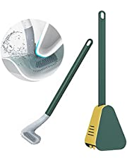 Golf Brush Head Toilet Brush with Holder, 360 Deep Cleaning Silicone Toilet Brush with Holder Bathroom Toilet Scrubber Set with Golf Brush Head
