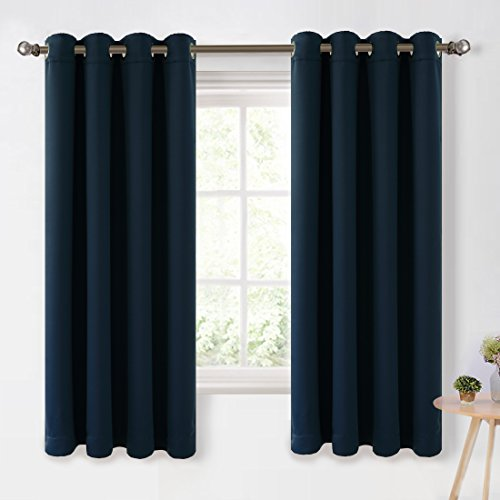 Maevis Blackout Curtains 2 Panels for Bedroom Window Treatment Thermal Insulated Solid Grommet Blackout Drapes for Living Room (Royal Blue, 52*84inch)  - Navy Blue Movie Gold And
