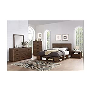 Manja Queen Bed, 2 Nightstand, Dresser, Mirror & Chest - Rustic Espresso Pine