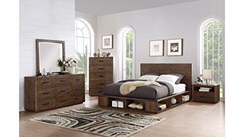 Manja C. King Bed, Nightstand, Dresser & Mirror - Rustic Espresso Pine