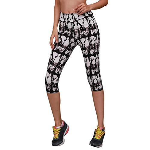 vermers Clearance Sale Women High Waist Fitness Yoga Sport Pants - Women Fashion Printed Stretch Calf-Length Leggings(S, Black1)
