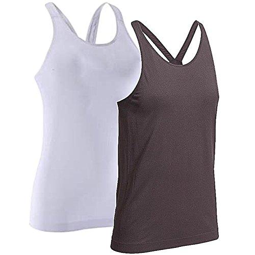 Yunoga Women's Racerback Yoga Seamless Workout Basic Tank Tops for Women 2 Pack (Black, White)