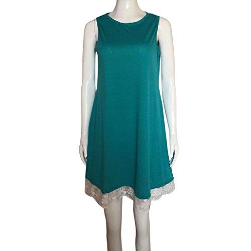 Lenfesh Verde con Loose Longitud Rodilla 2018 Noche de Casual Vestidos Verano Manga Encaje Camiseta de Fiesta Sin Moda Ocasional rXwZxqUr8