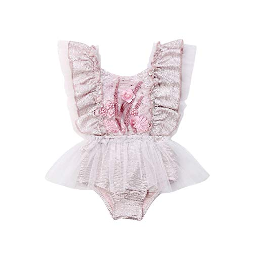 - Newborn Infant Baby Girls Twins Butterfly Sleeve Lace Ruffle Rompers Bodysuit Skirt Jumpsuit Outfit Princess Clothes (Pink, 12-18 Months)