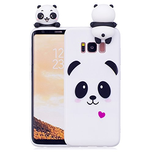 DAMONDY Galaxy S8 Case,3D Cute Cartoon Animals Pattern Soft Silicone Gel Slim Design Rubber Thin Protective Cover Phone Case for Samsung Galaxy S8 (2017)-White Panda