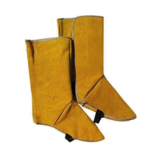 PQFYDS Heat and Abrasion Resistant Welding Spats Shoes Cover Leather Welding Spats Protective Shoes Long Cowhide Leather Shoe Protector