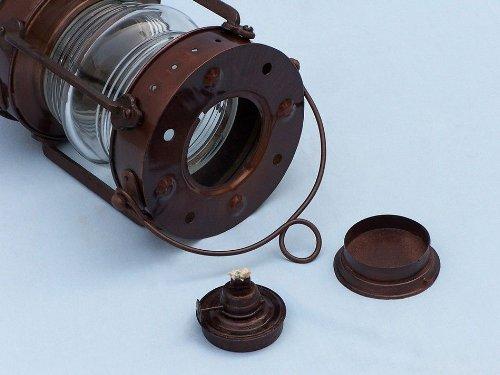 Hampton Nautical  Antique Copper Anchormaster Oil Lantern, 15″, Copper