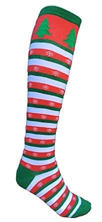 SoRock Women's Holiday Christmas Striped Knee Socks