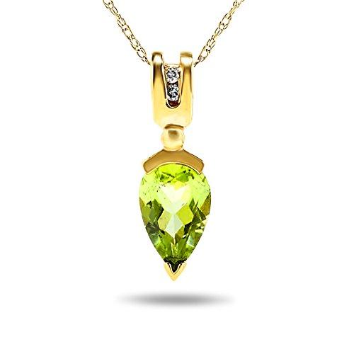 Peridot Journey Pendant - JewelryBliss 14k Yellow Gold Pear Shape Green Peridot and Diamond Pendant Nacklace, Birthstone of August