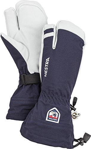 Hestra Mens and Womes Ski Gloves: Army Leather 3-Finger Winter Mitten, Navy, 8